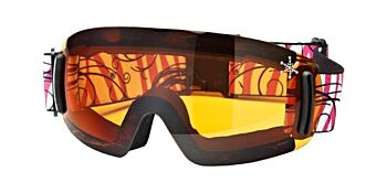Dirty Dog Ski Goggle Flip Frameless Orange Sno Flake Deco DD54051