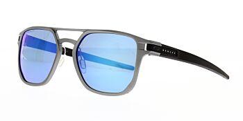 Oakley Sunglasses Latch Alpha Matte Light Gunmetal Prizm Sapphire Polarised OO4128-0453