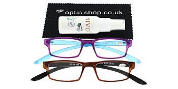 Reading Glasses Bundle R9 Purple/Brown +2.00
