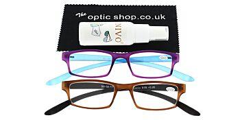 Reading Glasses Bundle R9 Purple/Brown +3.00